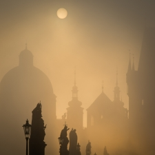Prague misty morning